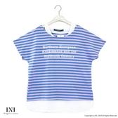 【INI】穿著設計、假兩件式好感條紋上衣.水藍色