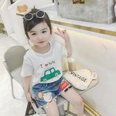 女童卡通短袖T恤2018夏裝新款韓版兒童百搭純棉小狗圓領打底上衣   初見居家