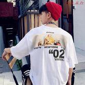 港風短袖男T恤寬鬆嘻哈衣服