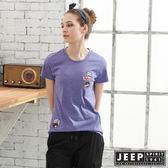 【JEEP】女裝純棉簡約短袖T恤-紫色
