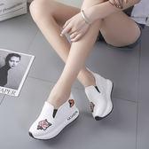 休閒運動女單鞋新款白色春秋韓版百搭繡花厚底學生鞋內增高懶人鞋 莫妮卡小屋