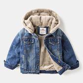 外套男童秋冬牛仔外套加絨加厚兒童冬裝2018新款洋氣上衣童裝寶寶夾克『櫻花小屋』