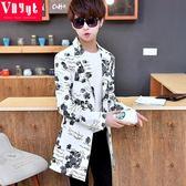 青年個性中長款風衣男士春夏季防曬衣服帥氣披風薄款大衣韓版外套