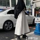 半身裙 春夏季半身裙2021年新款日系高腰顯瘦白色學生a字中長款裙子女潮 【99免運】