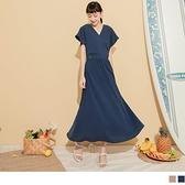 《KG1067-》雪紡交叉V領造型口袋長洋裝 OB嚴選