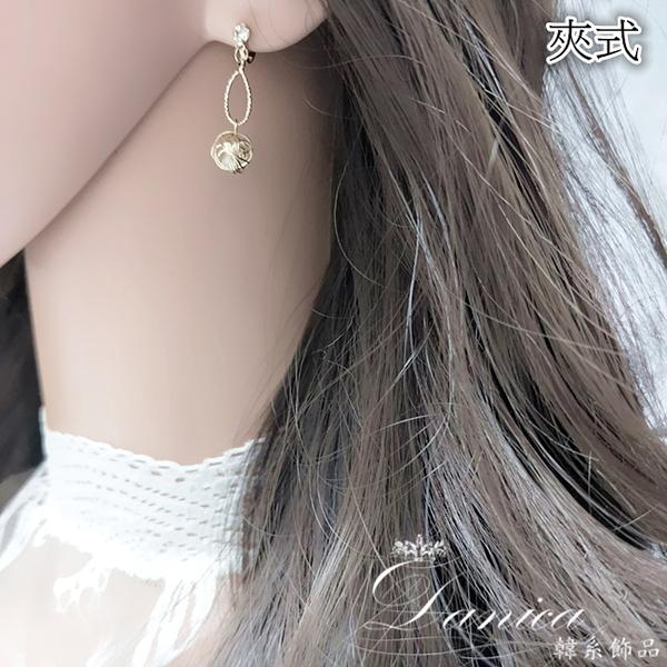 現貨 韓國氣質金屬感幾何金線纏繞珍珠925銀針垂墜耳環 夾式耳環 S93596 批發價 Danica 韓系飾品