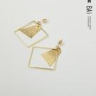 耳環 鏤空菱形幾何墜飾金屬風耳飾-BAi白媽媽【306238】