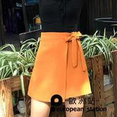 短裙 a字裙半身裙女純色綁帶蝴蝶結包臀女「歐洲站」