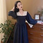小香風洋裝 年女V領收腰顯瘦長款復古法式長袖格子小香風連衣裙 - 紓困振興~~全館免運