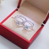 結婚慶用品對戒仿真假鑽戒婚禮道具婚戒情侶戒指一對開口男女首飾 韓國時尚週