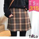 短裙-Tirlo-秋冬格紋A字短裙-三色...