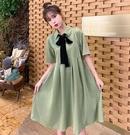 襯衫洋裝 抹茶牛油果綠襯衫連衣裙女202...