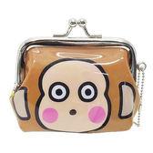 《Sanrio》淘氣猴大臉珠扣式PVC零錢包附鍊S_05252