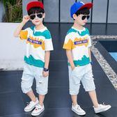 童裝男童套裝夏裝2019新款韓版兒童夏款中大童洋氣運動男孩帥氣潮 嬌糖小屋