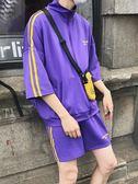 夏季韓版情侶百搭男女運動套裝寬松時尚五分褲短褲潮 生活樂事館