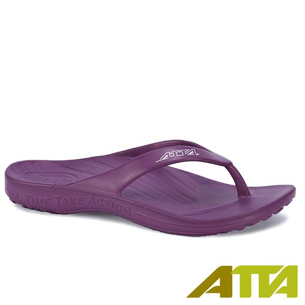 【333家居鞋館】好評回購 ATTA足底均壓 足弓簡約夾腳拖鞋-紫色