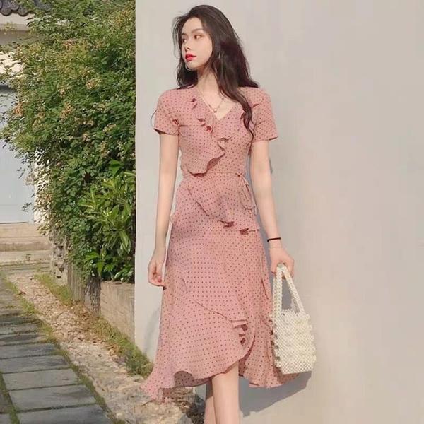 夏裝2020新款氣質收腰雪紡洋裝女神范法式小眾初戀波點裙子