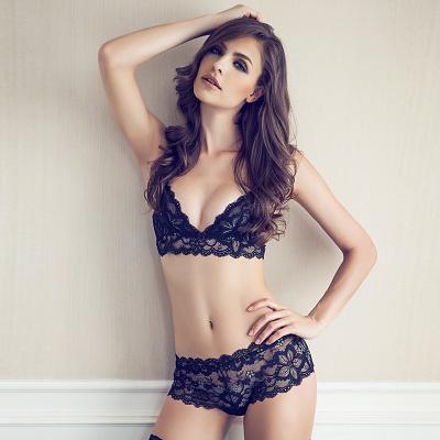 薄紗不聚攏歐美性感胸罩內衣褲蕾絲超薄杯透明女士文胸套裝黑色冬-07132001