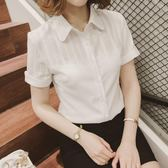 2019新款短袖襯衫女韓版夏季雪紡白襯衣 全館免運