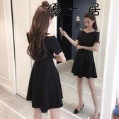 洋裝中長款顯瘦一字領短袖吊帶小黑裙