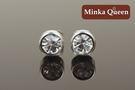 德國鈦鋼 白色精緻水鑽 直立式抗敏耳環(一對)(4 mm)