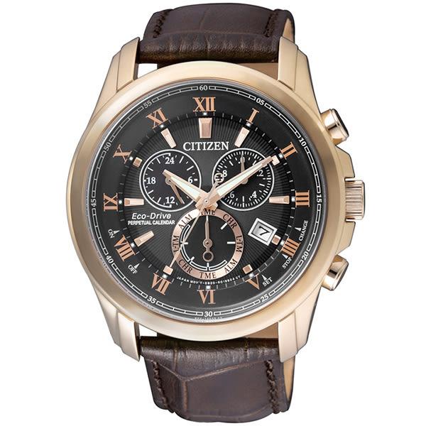 【台南 時代鐘錶 CITIZEN】星辰 光動能 典雅紳士品味多功能商務腕錶 BL5542-07E 黑/咖啡 43mm 公司貨