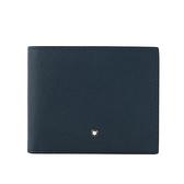 【MONT BLANC】匠心系列防刮牛皮 6卡短夾(藍色) 113217