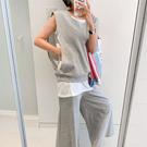 NXS 正韓 假兩件 背心 套裝 長褲 上衣 無袖 T 棉質 彈性 寬鬆 休閒 韓國