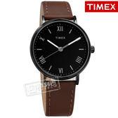 TIMEX 天美時 / TXTW2R80300 / 美國第一品牌 羅馬時標 夜光 真皮手錶 黑x鍍黑框x深咖啡41mm
