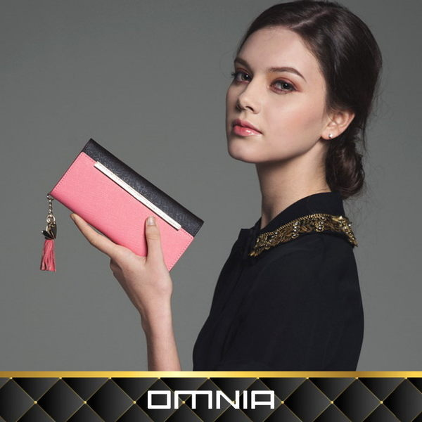 韓國OMNIA 艾莉絲拼接色真皮女用長夾 皮夾 NO.3161A【韓國直送】