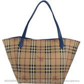 茱麗葉精品 全新精品 BURBERRY 4045421 經典戰馬格紋肩背托特購物包.駝/藍邊