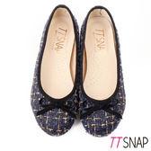 娃娃鞋-TTSNAP MIT全真皮小香風蝴蝶結柔軟Q平底鞋 毛呢藍