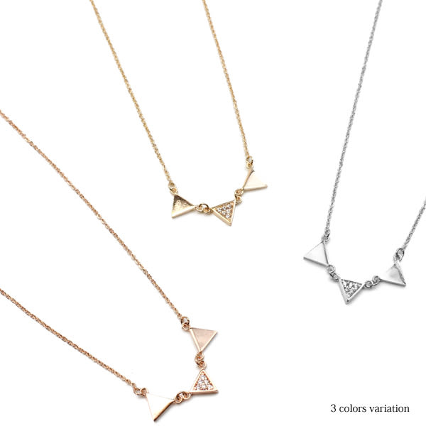 項鍊-幾何學三角造型項鍊【日本飾品-OSEWAYA】☆Made in Japan☆