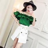 俏皮套裝女兩件套夏季韓版一字肩荷葉邊上衣高腰雙排扣開叉半身裙