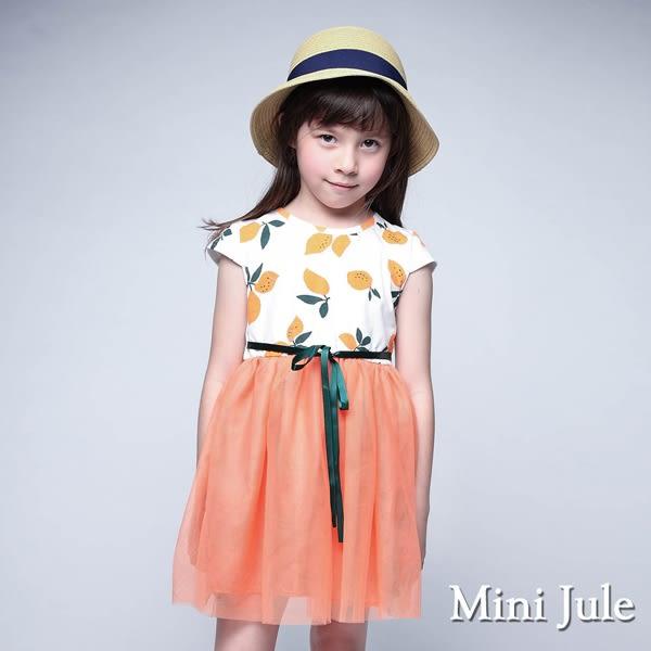 Mini Jule 女童 洋裝 滿版檸檬綁帶網紗下擺洋裝(橘)