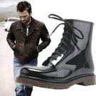 歐美  大碼 馬丁男雨鞋  黑色  E1124  Eimo