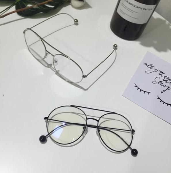 [超豐國際]華晨宇網紅款眼鏡框架鐵珠金屬雙梁復古平光鏡圓框仿1入