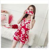 睡衣女夏季薄款純棉吊帶甜美可愛大碼兩件式韓版學生居家服CC5070『美鞋公社』