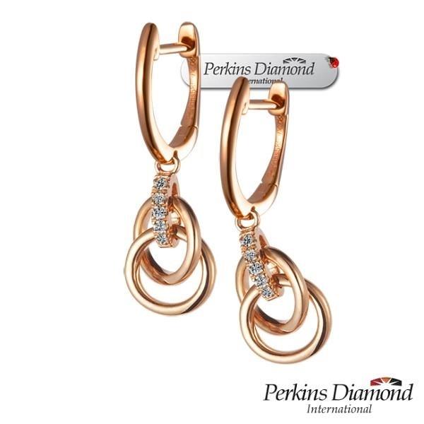 【南紡購物中心】PERKINS 伯金仕 Cercle玫瑰金系列 鑽石耳環