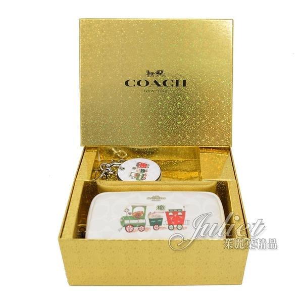茱麗葉精品【全新現貨】COACH C1751 可愛圖案萬用包/鏡子禮盒組.白