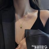 熱賣項鍊 銀短款毛衣輕奢小方牌項鍊女小眾設計感氣質簡約ins冷淡風鎖骨鍊 曼慕