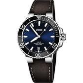 Oris豪利時 Aquis 時間之海潛水300米日期機械女錶-藍x銀/38mm 0173377324135-0752110FC