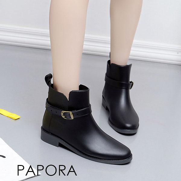 百搭休閒飾踝靴雨靴雨鞋【KY999】黑偏大一碼PAPORA