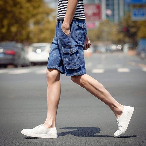 找到自己品牌 時尚潮流 男 日系 工裝多口袋 牛仔中褲 牛仔短褲 五分褲
