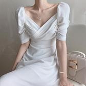 禮服 溫柔風法式白色長裙超仙女森系顯高女神范收腰顯瘦氣質洋裝夏