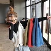 無袖馬甲女韓版寬松短款針織V領外穿坎肩背心【時尚大衣櫥】