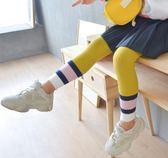 拼色條螺紋兒童九分褲襪/內搭褲/寶寶襪子