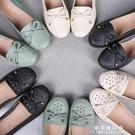 春季中年女鞋平跟媽媽鞋真皮單鞋軟底豆豆鞋女大碼淺口中老年皮鞋 果果輕時尚