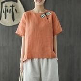 短袖T恤-棉麻復古盤扣蜻蜓刺繡女上衣4色73tb14[時尚巴黎]