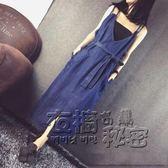 吊帶裙牛仔連身裙長款背帶V領露背寬鬆夏季新薄款大碼歐美吊帶長裙 衣櫥の秘密